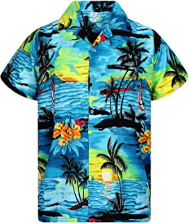Funky Hawaiian Shirt for Men Shortsleeve Front-Pocket Casual Button Down Surf