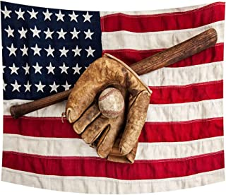 Wamika Vintage Sports MLB Baseball Tapestry Retro USA American Flag Tapestry Wall Hanging Boho Hippie Bohemian Tapestries for Bedroom Living Room Home Dorm Decor Wall Art 60