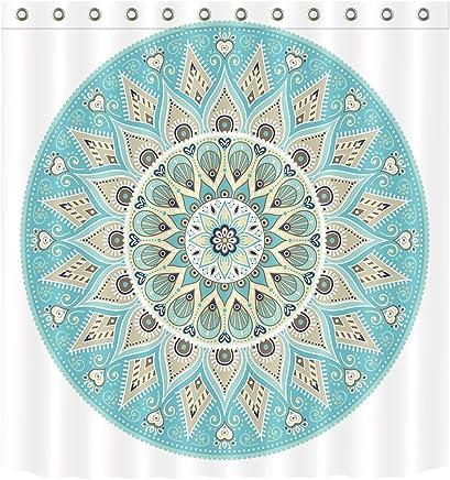 Tela Estampada Resistente al Agua Set de 12 Ganchos 175 x 200 cm S/ímbolos Asi/áticos del Mandala Naranja Verde ABAKUHAUS /Étnico Cortina de Ba/ño