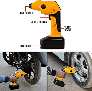 Autofy Universal Portable/Wireless Air Compressor/Pump with LED Light and USB Charger for All Cars/Bikes/Balls (Yellow and Black)