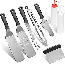 grilljoy 8pcs Restaurant Grade Griddle Spatula & Scraper Set - Extra Thick Flat Top Griddle Kit with Heat-Resistant Grip. Dishwasher Safe.