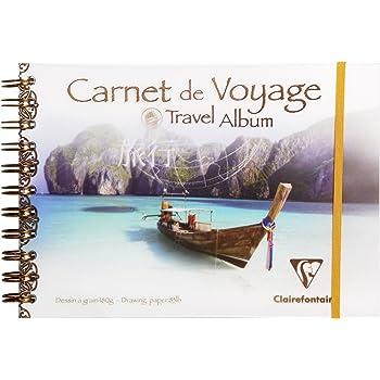 Clairefontaine 96777C - Un carnet de voyage à spirale 60 pages de papier dessin à grain blanc 14,8x21 cm 180g, couverture polypro (plastique), Bateau