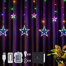 DazSpirit LED Ster Gordijn Lichten, met afstandsbediening en 20 haken - USB of batterij aangedreven, 8 modi, geschenkdoos,...