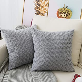 """Best LANANAS Luxury Soft Plush Faux Fur Throw Pillow Covers for Couch Decorative Mongolian Fur Throw Pillow Covers Pack of 2 (18""""x 18"""", Grey) Review"""