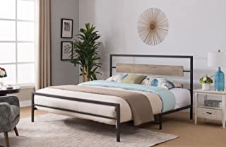 Kings Brand Furniture – Verona Pewter Metal/Gray Wood Bed with Headboard & Footboard, Queen