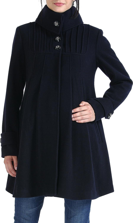 Momo Maternity Outerwear Womens Jessie Wool Pleated Swing Coat Pregnancy Winter Jacket