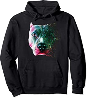 Shattered Colorful Pit Bull Face Designer Hoodie Shirt