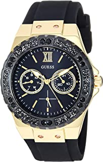 GUESS  Gold-Tone Stainless Steel + Black Stain Resistant Watch with Day + Date Functions. Color: Black (Model: U1053L7)