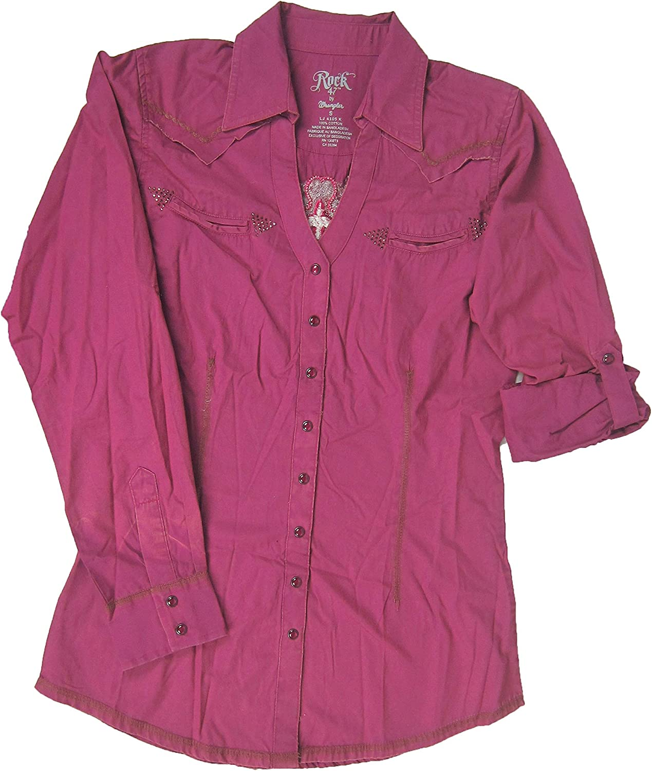 Wrangler Rock 47 Ladies Button Down Blouse, Pink, Small