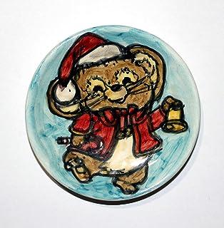 Topino,Natale-Piatto di ceramica fatto a mano, diametro cm 12,2 e alto cm 2,5-Made in Italy,Toscana,Lucca.Creato da Davide...