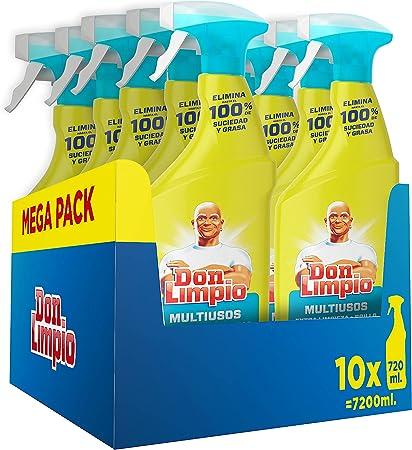 Don Limpio Multiusos, Detergente en Spray, 7.2 L (10 x 720 ml), Elimina Hasta un 100% de Suciedad y Grasa , Aroma Limón, Mega Pack