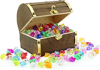 """Wooden Pirate Treasure Chest with 240 Colored """"Jewels"""" (Plastic Gems); 6"""" x 4.5"""" x 5"""" Antique Style Wood Box with Brass Ac..."""