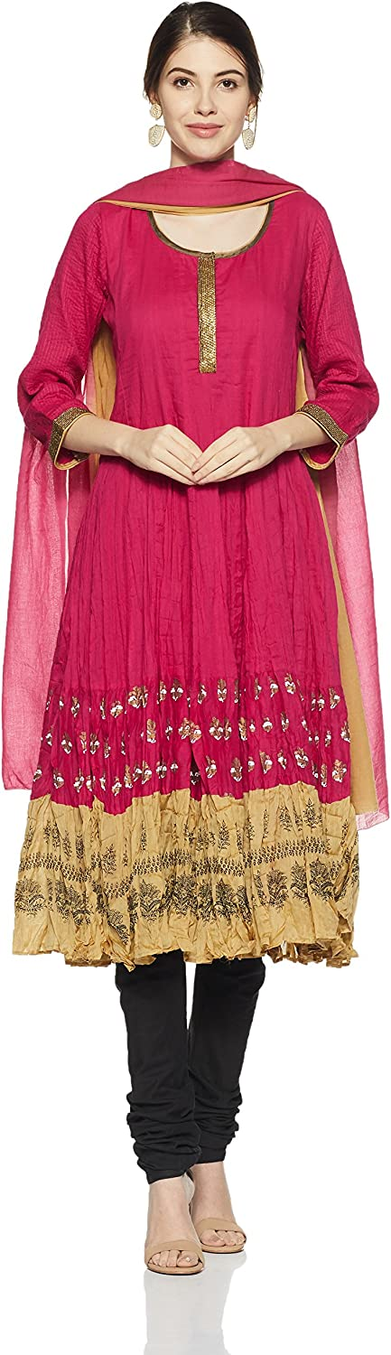 BIBA Women's Kalidar Cotton Kalidar Round Neck Suit Set