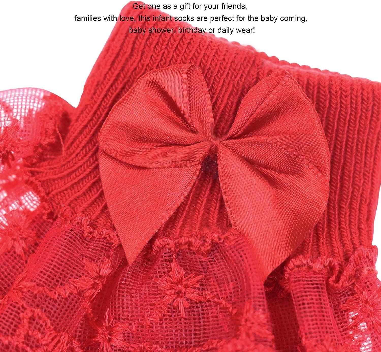 BQUBO Baby Girls Socks Infant Lace Sock Newborn Socks Eyelet Ankle Dress Sock 4 Pairs