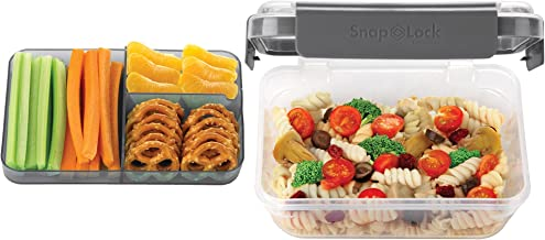 SnapLock by Progressive Bento-To-Go Container - Gray, SNL-1021GY Easy-To-Open, Leak-Proof Silicone Seal, Snap-Off Lid, Sta...