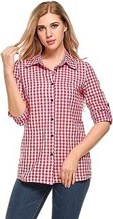 Zeagoo Women's Gingham Boyfriend Plaid Roll Up Long Sleeve Button Down Shirt