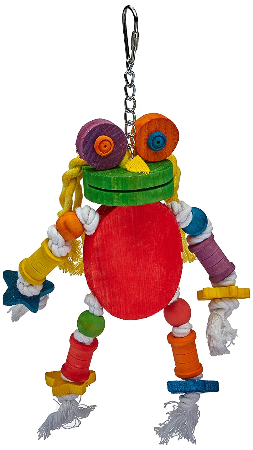 A&E CAGE COMPANY HB46349 Happy Beaks Silly Wood Frog Assorted Bird Toy, 11 by 12