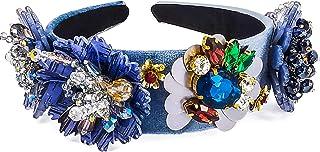 QTMY Wide Headbands Fashion Women Baroque Gemstone Hair Accessories Head Band Fashion Headwear Hairbands for Women,Blue