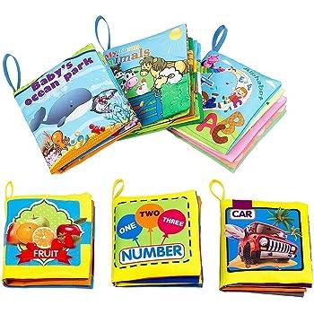 Biubee 布絵本-6冊セット ベビー用 えほん 布のおもちゃ 本 ブック 布 幼児教育 おもちゃ 破れない 無毒無臭 早期教育 数字 動物 英語 子供用