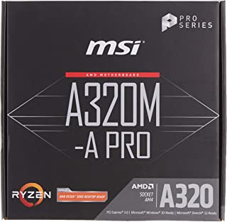 MSI A320M-A Pro - Placa Base AM4 Micro ATX AMD A320 A320M-A Pro, AMD, ubicación AM4, AMD Athlon, AMD Ryzen, DDR4-SDRAM, DI...
