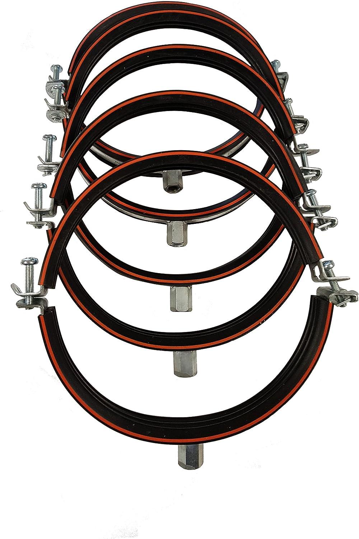 rosca M8//M10 fabricada en Alemania Plateado Abrazadera de tubo DN con base de goma de dos partes acero galvanizado