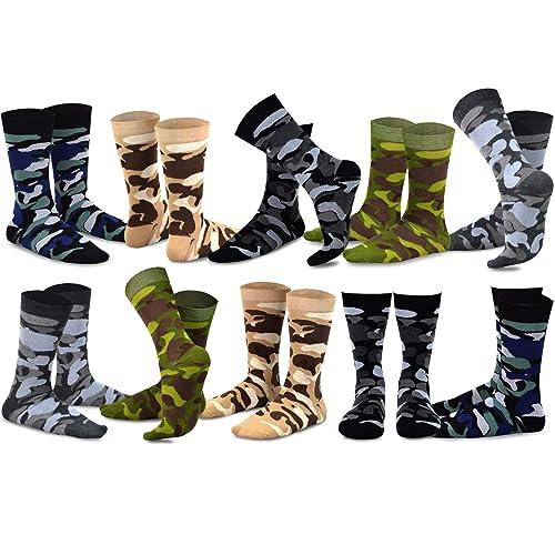 868b596c50f87 TeeHee Men's Fun and Fashion Cotton Crew Socks 10-Pack