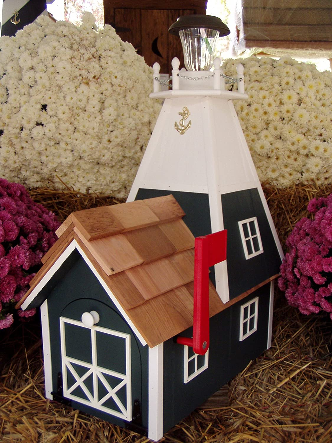 Amish Rural Green Mailbox Solar Handmade Lighthouse Homemade security Han Outlet sale feature