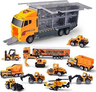 JOYIN Camión de ingeniería 11 En 1 Coche Juguetes Vehículo de Construcción Carrier Truck para Niños