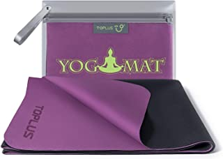 TOPLUS Travel Yoga Mat - Foldable 1/16 Inch Thin Hot Yoga Mat, Sweat Absorbent Anti Slip, High-Grade Natural Suede for Travel, Yoga and Pilates, Coming with Carrying Bag