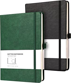 RETTACY Dotted Bullet Grid Journal 2 Pack - Dot Grid Hard Cover Notebook with 320 Pages,120gsm Thick Paper,8 Perforated Sheets,Smooth PU Leather,Inner Pocket,5.75'' × 8.38'' (Black Green)