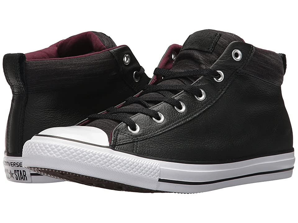 Converse Chuck Taylor(r) All Star(r) High Street Leather w/ Fleece Mid (Black/Dark Sangria/White) Men