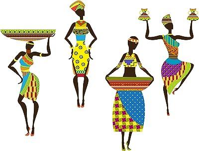 Decals Design Wall Sticker 'Traditional African Dancing Ladies Modern Art'