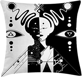"""Lunarable Voodoo Throw Pillow Cushion Cover, Illustration of an Abstract Girl Made up of Geometric Shapes Energy Balance, Decorative Square Accent Pillow Case, 28"""" X 28"""", Black White"""