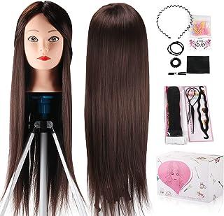 Mannequin Head, Beauty Star 24 Inch Chestnut Color Long Hair Cosmetology Mannequin Manikin Training Head Model Hairdressin...