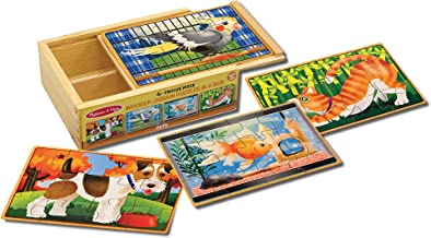 "Melissa & Doug Pets Jigsaw Puzzles in a Box (Four Wooden Puzzles, Sturdy Wooden Storage Box, 12-Piece Puzzles, 8"" H x 6"" W x 2.5"" L, Great Gift for Girls and Boys - Best for 3, 4, 5, and 6 Year Olds)"