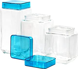 Red Co.3 Piece Glass Canister Jar Set with Assorted Color Lids, Square
