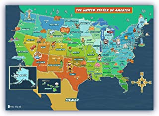 """USA Map for kids (18""""x30"""") LAMINATED Large Poster beautifully illustrated Young N Refined"""