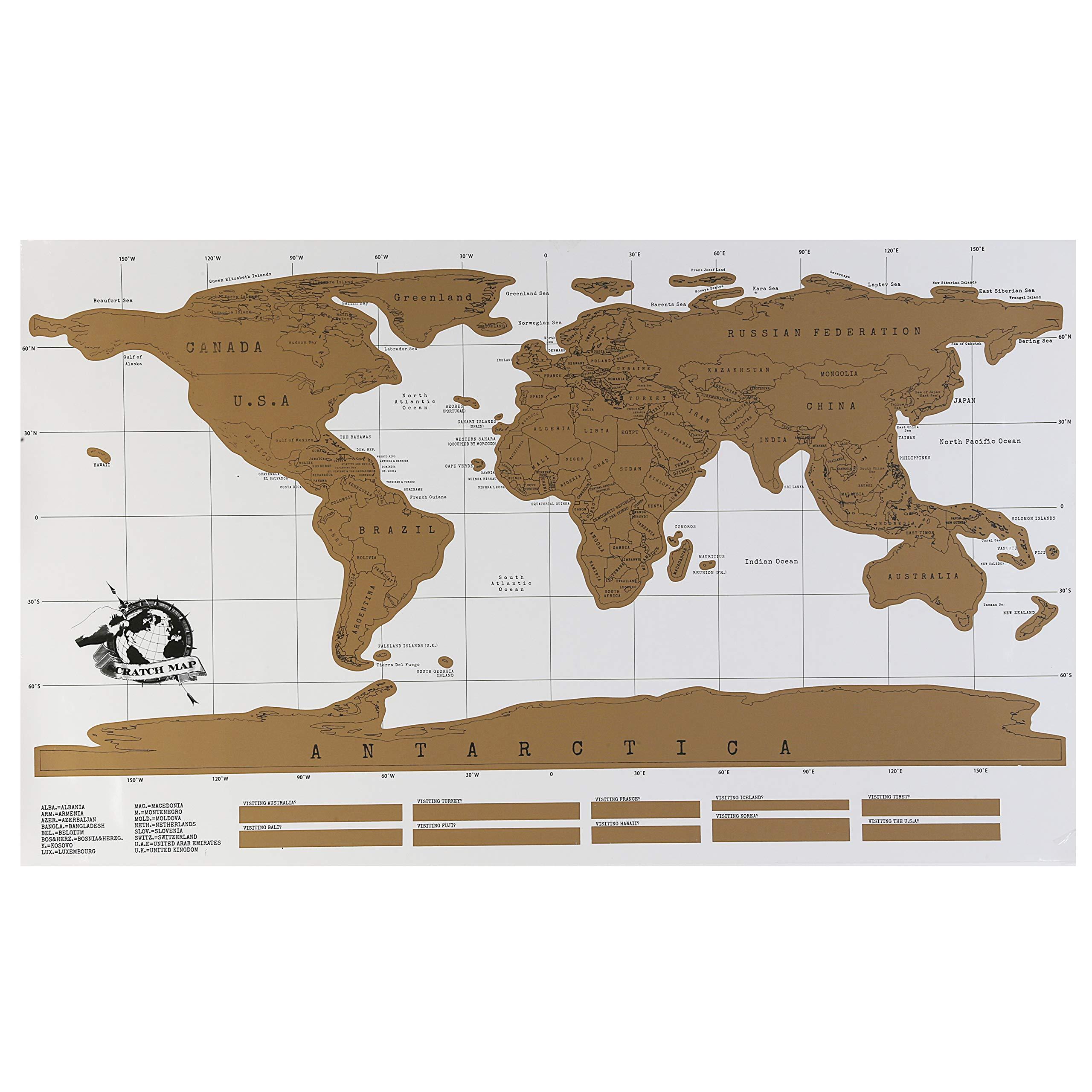 Poster del mapa del mundo para rascar 52 x 87. Incluye tubo y rascador de regalo - World Scratch Map - Poster de lujo - Edicion para viajes. (52 x 87 cm): Amazon.es: Oficina y papelería