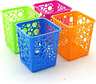 Z ZICOME Set of 4 Desktop Office Storage Organizer - Creative Round Hollow Flower Design Pen Pencil Holder Organizer Basket in 4 Bright Colors (Square)