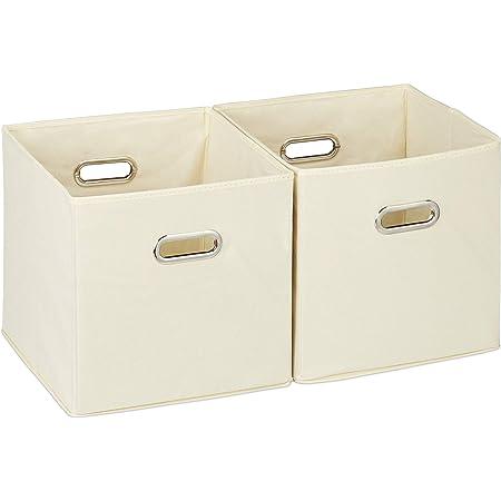Relaxdays 10025656_127 Lot de 2 boîtes de rangement, sans couvercle, avec poignée, pliable, panier en tissu carré, 30 cm, beige, polyester, carton, 30 x 30 x 30 cm