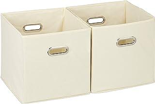 Relaxdays 10025656_127 Lot de 2 boîtes de rangement, sans couvercle, avec poignée, pliable, panier en tissu carré, 30 cm, ...