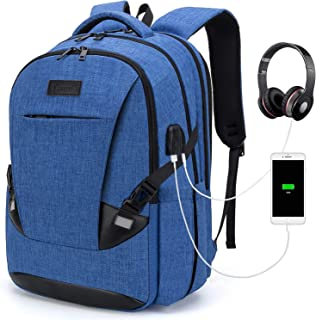 Tzowla Travel Laptop Backpack Water Resistant Business Backpack USB Charging Port Computer Backpack Men Women College School Bag Fit 16 inch Laptops… (PureBlue)