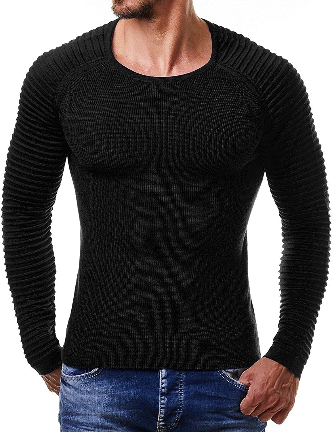 COOFANDY Men's Cable Knit Sweater Stripe Crew Neck Long Sleeve Pullover