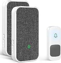 Wireless Doorbell, Remote Door Bell Ringer Wireless Long Range 1300FT with Fabric Finish, Coolqiya Portable Wireless Door ...