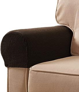 Veronica Spandex Stretch Armrest Covers Set of 2 (Chocolate)
