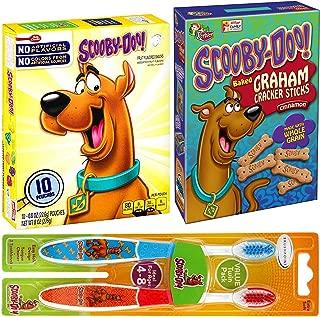 Double Scooby-Doo Treat Snacks Baked Cinnamon Graham Cracker Whole Grain Bones & Assorted Natural Fruit Flavor Pouches + Bonus Character Toothbrush Kids Twin Pack