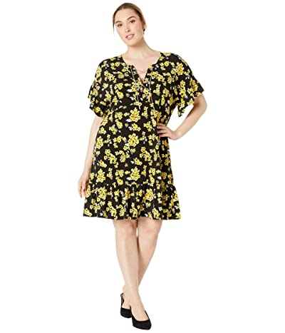 MICHAEL Michael Kors Plus Size Glam Painterly Lace-Up Chain Dress (Black/Golden Yellow) Women