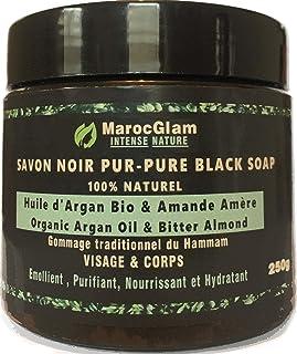 Savon Noir Marocain à l'huile d'argan BIO et l'Amandes amères, 250g,100% traditionnel Beldi. Anti-rides mondialement conn...