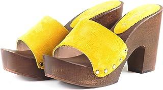 Silfer Shoes Donna Zoccolo Zoccoli .SilferShoes in Vero legnopelle di camoscio
