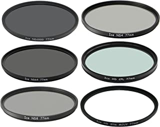 ICE 77mm 6 Filter Set ND/CPL ND1000 ND64 ND8 ND4 UV & Wallet Neutral Density 77 10, 6 Stop Optical Glass